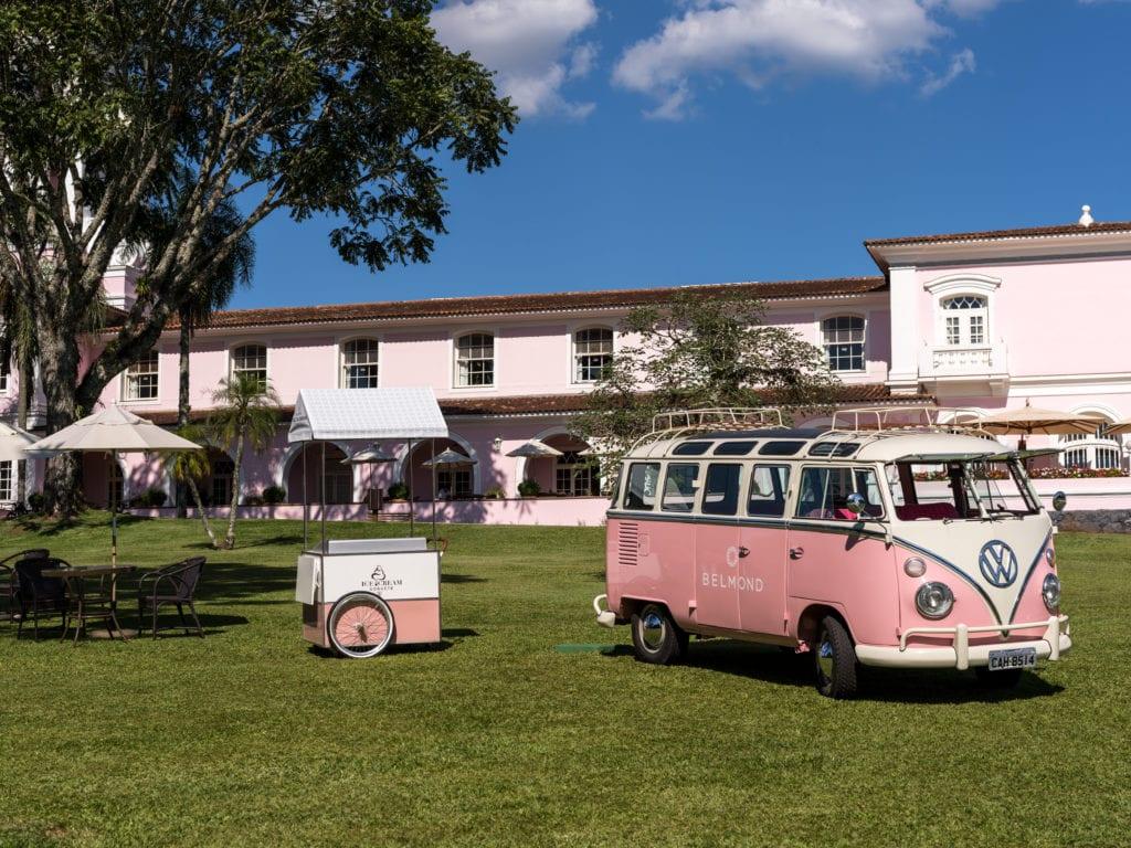 pink camper van outside Hotel das Cataratas