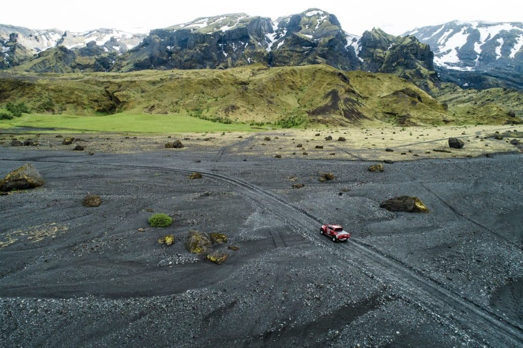 Iceland Aerial of driving