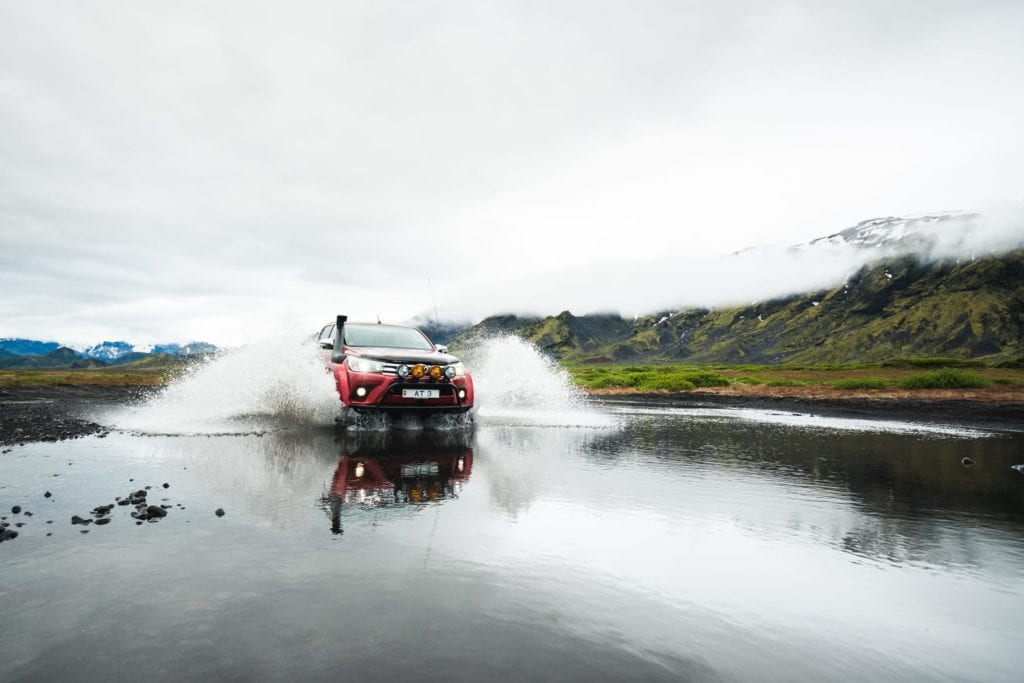 Iceland driving through water