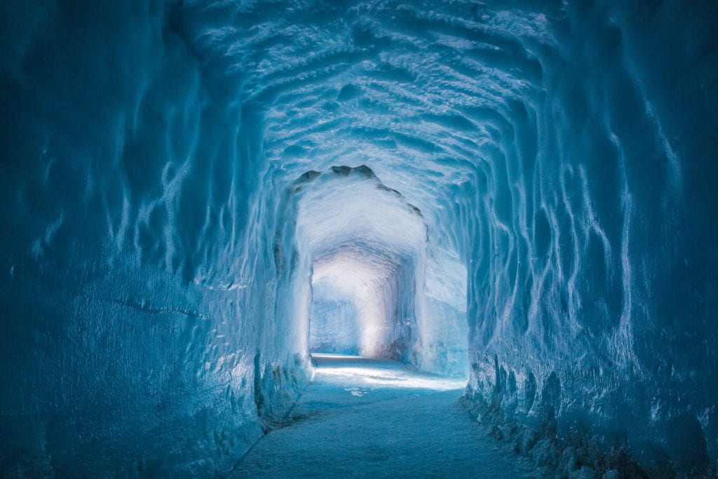 Iceland ice tunnel