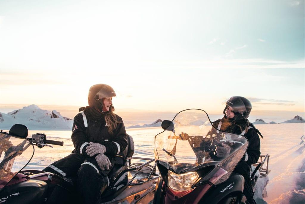 Iceland snowmobile in midnight sun