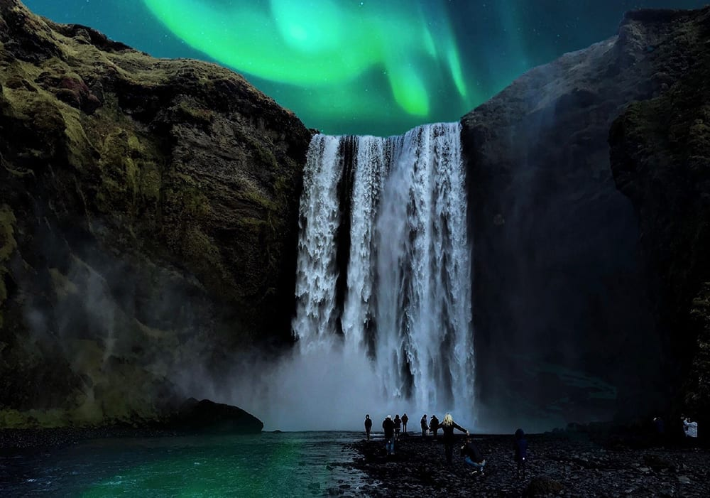Waterfall Northern lights Iceland