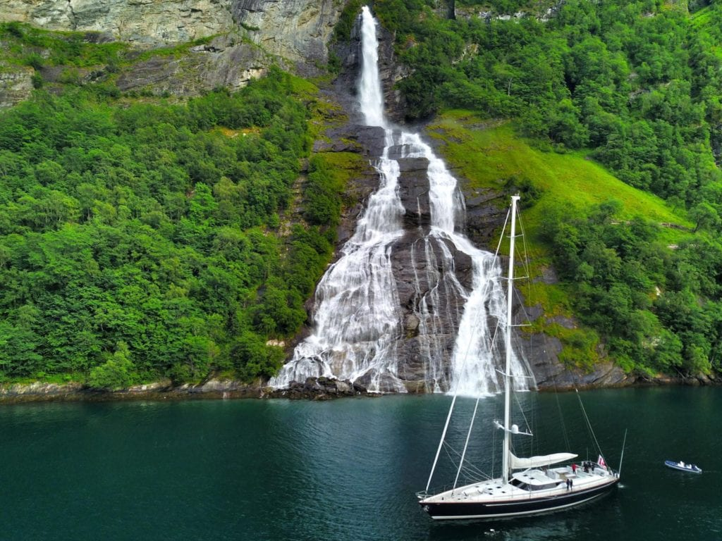 imagine yacht exterior waterfall