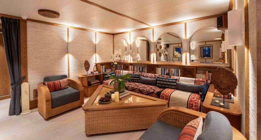 Main Deck Library on Kudanil Explorer Yacht