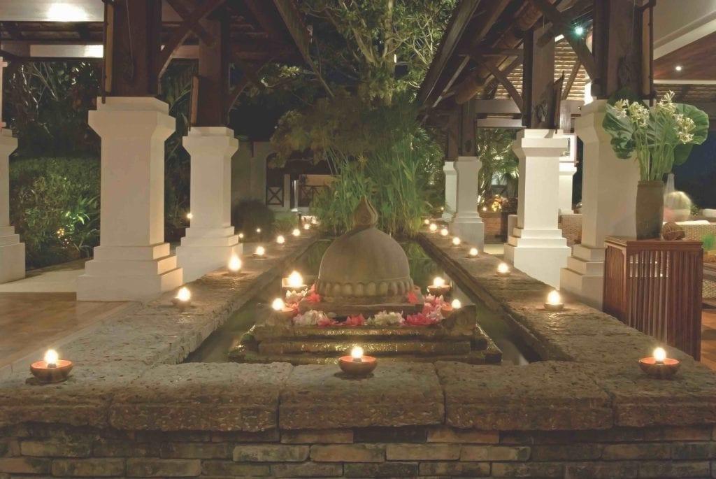 candlelit view of la residence phou vao