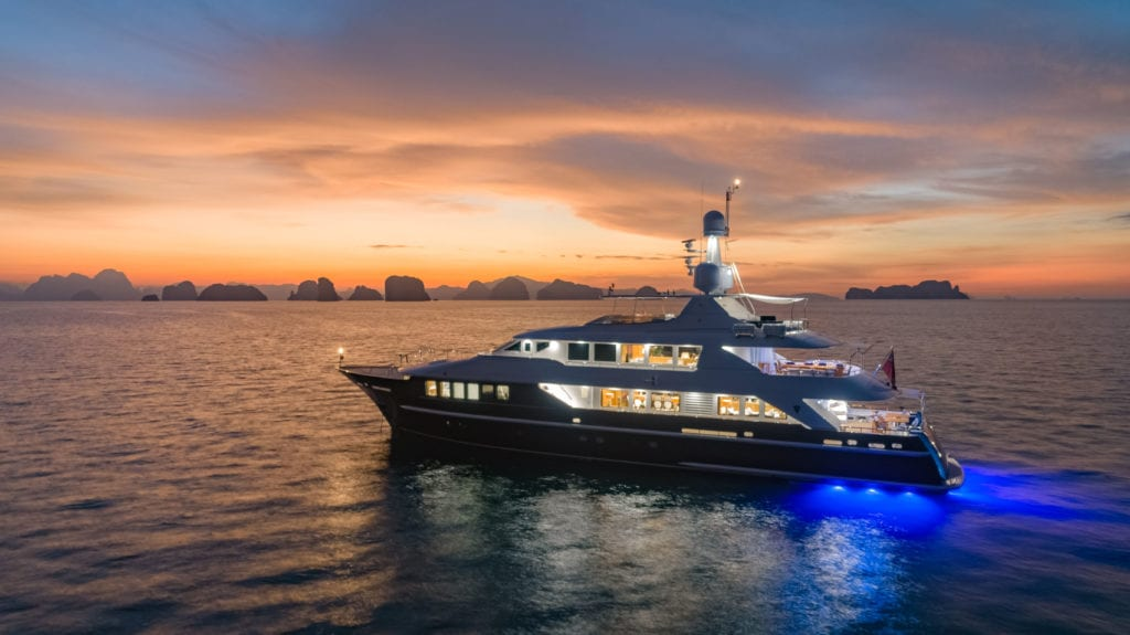 Lady Azul Yacht at Sunset in Thailand