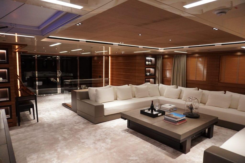 Saloon on board Magna Grecia yacht