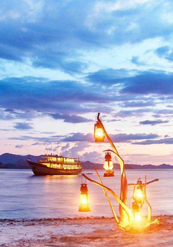 Mischief yacht exterior during sunset