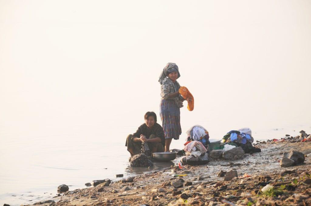 ladies washing clothes in myanmar