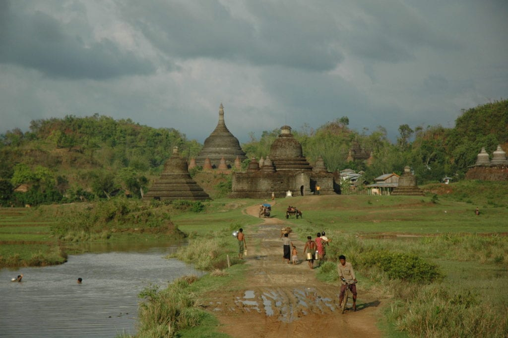 temple and people in myanmar