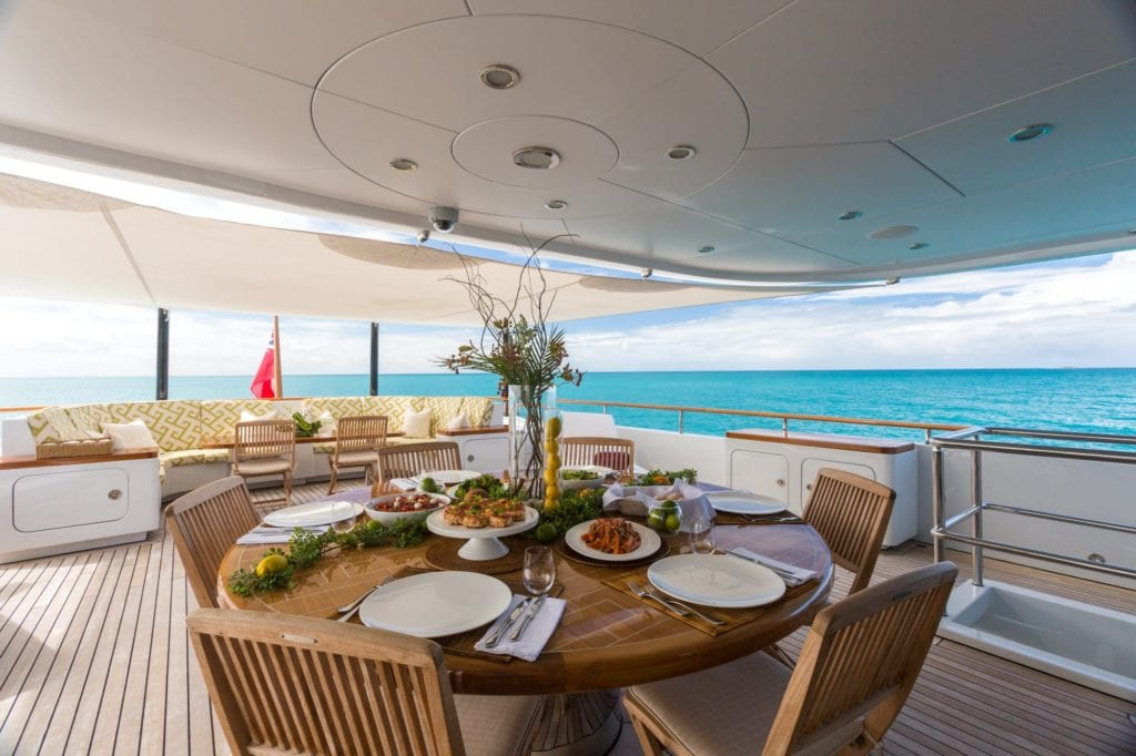 Exterior Dining on Ocean's Seven Yacht