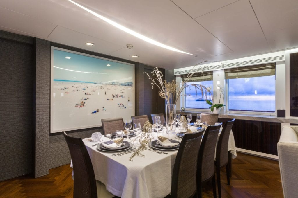 Interior Dining on Ocean's Seven Yacht