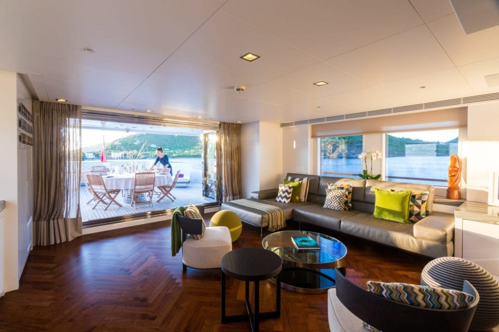 Interior Saloon on Ocean's Seven Yacht