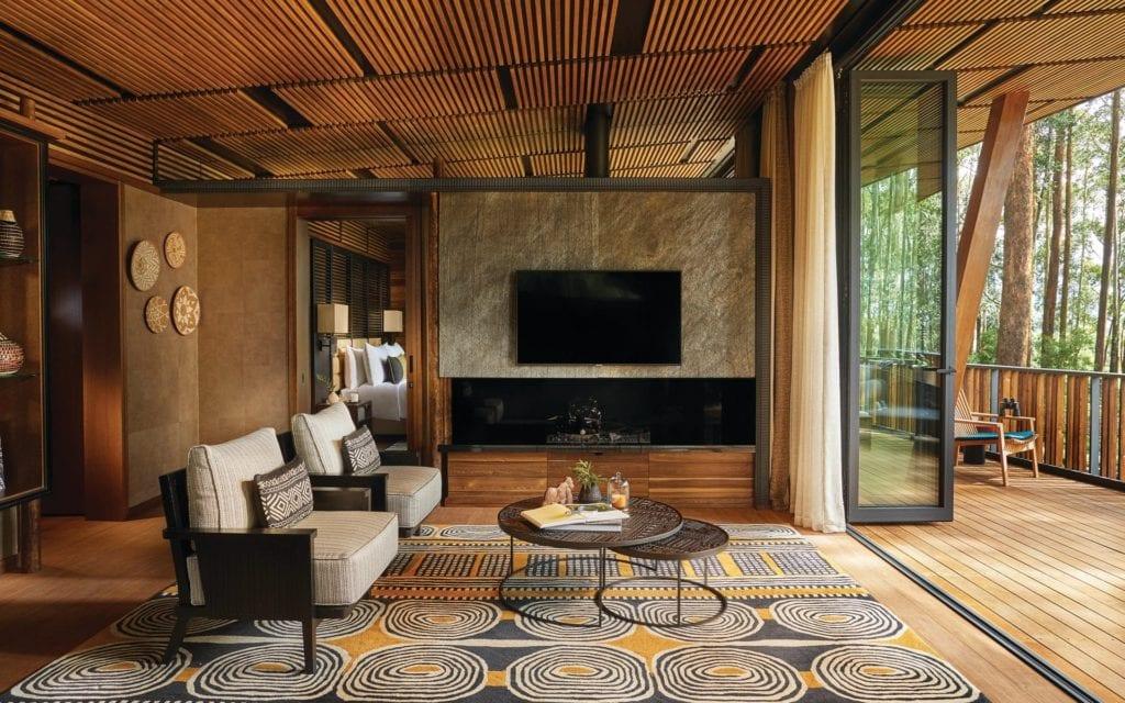 One and Only Gorilla's Nest Virunga Suite Living Room Interior Rwanda
