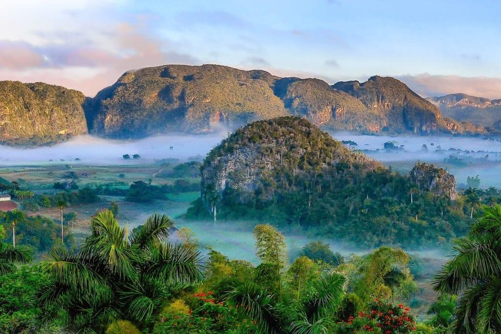 Mist shrouded mountains in Cuba