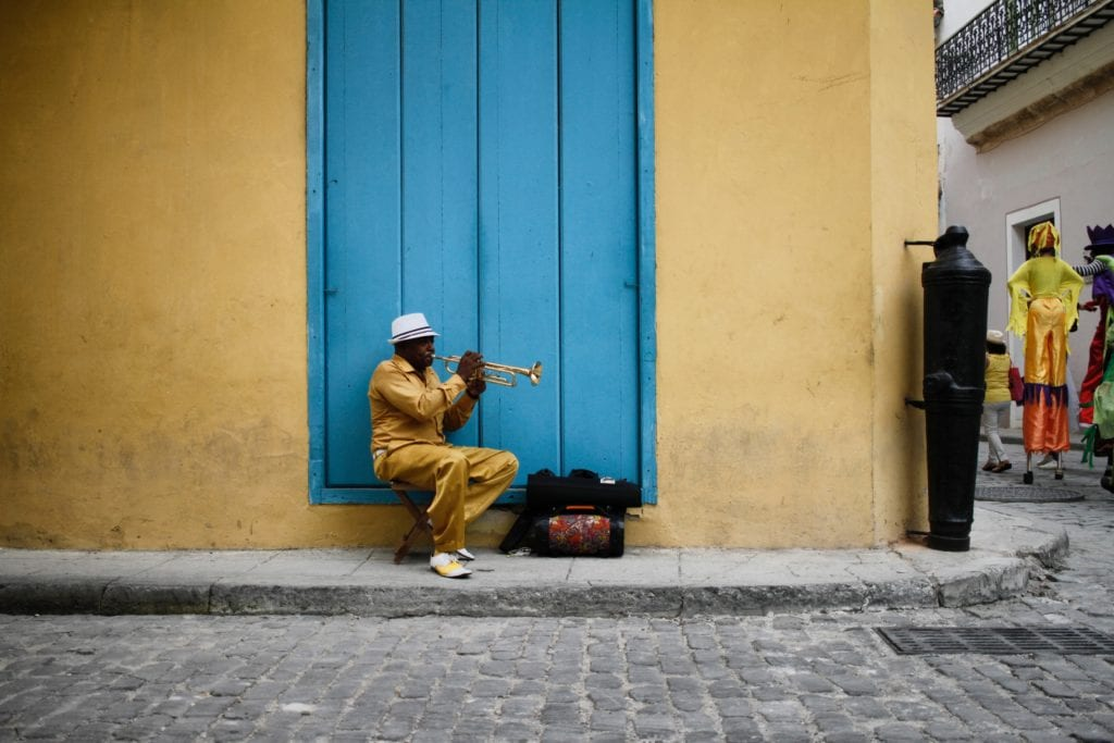 Trumpet player on the streets of Havana