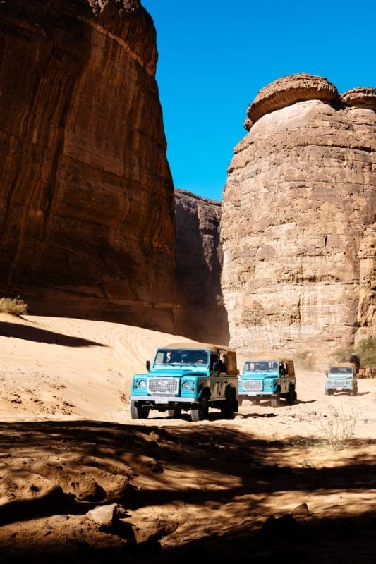 Land Rovers in the Desert Saudi Arabia