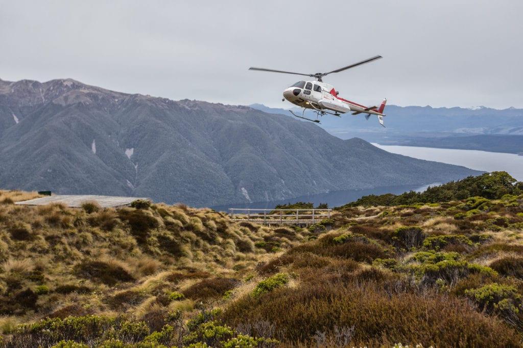 Heli landing on mountains