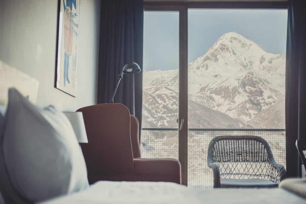 mountain view from Rooms Hotel Kazbegi