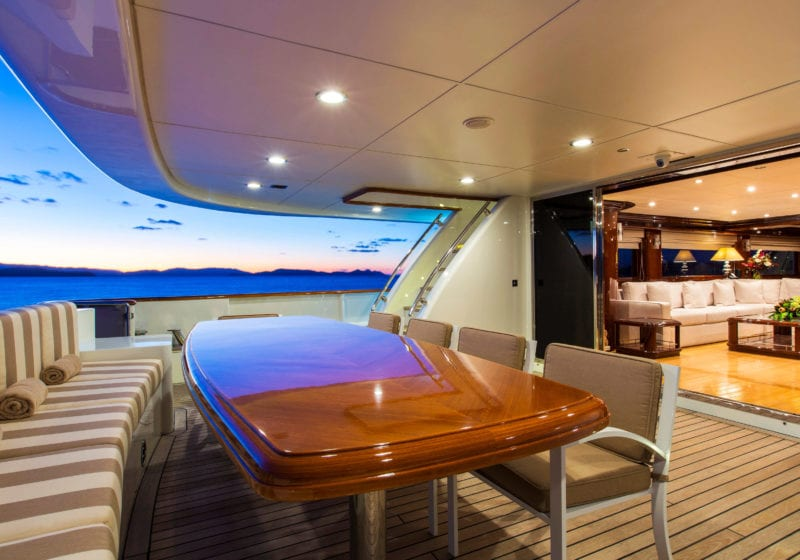 Exterior Deck Dining on board Silentworld Yacht
