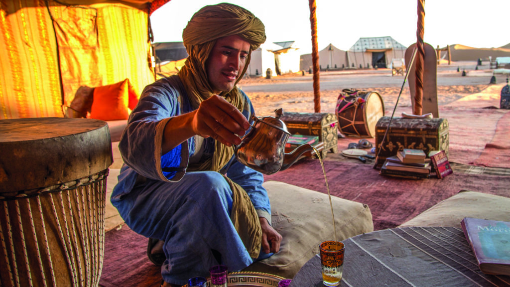 morocco private camp tea pouring