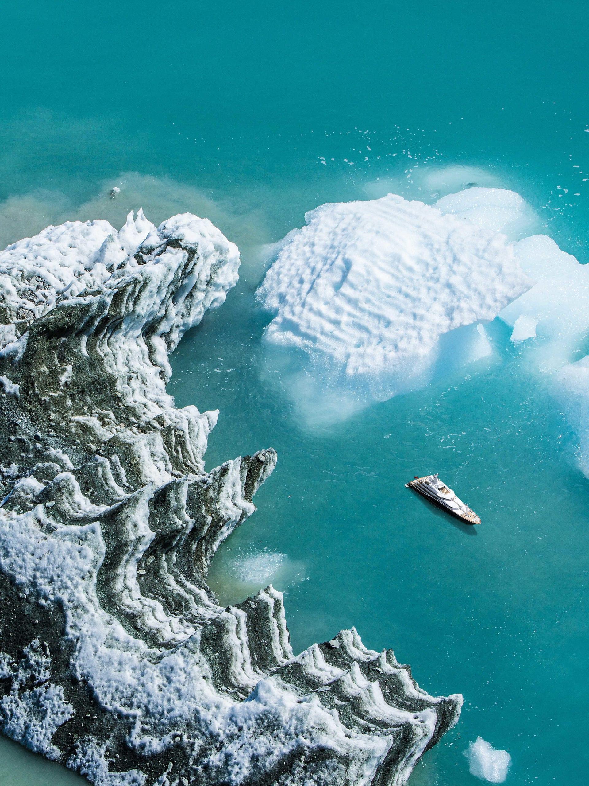 yacht ocean ice aerial