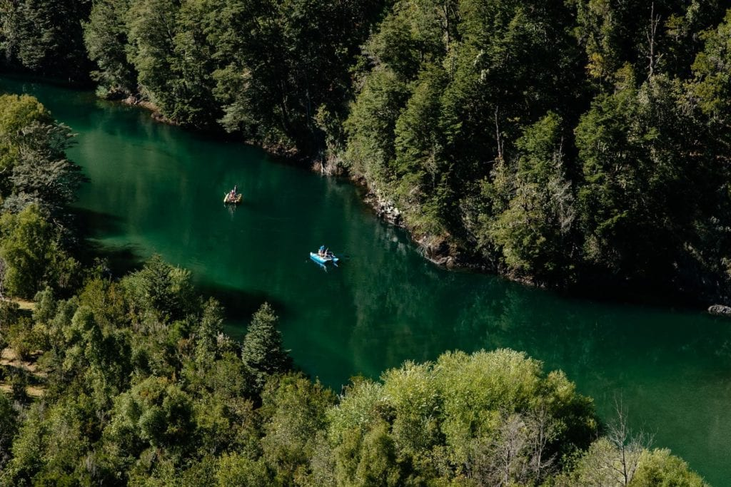 Aerial View of River and River Activities with Forest from Helicopter Barraco Lodge Patagonia
