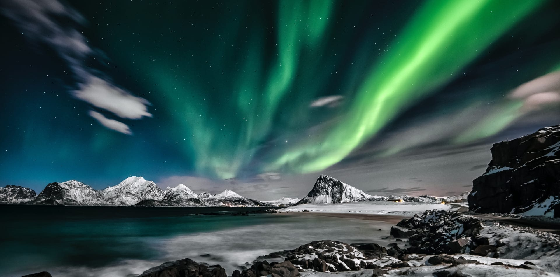 The Northern lights in the Arctic