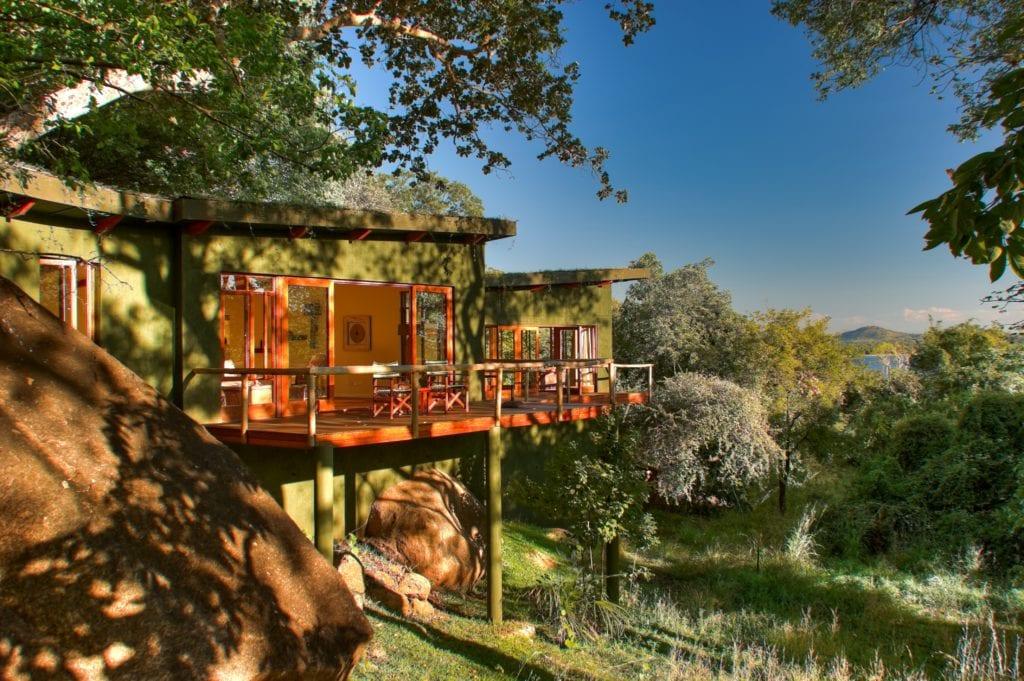 Balcony and Lodge Exteriors at Pumulani Malawi Africa
