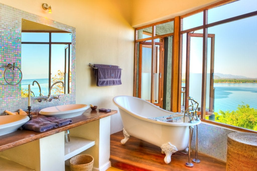 Bathroom Interior at Pumulani with view of Lake Malawi Malawi Africa