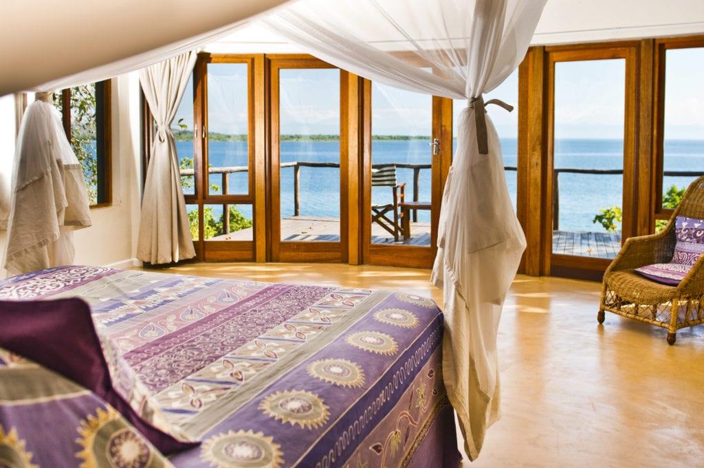 Bedroom Interior with Lake Malawi Views at Pumulani Malawi Africa