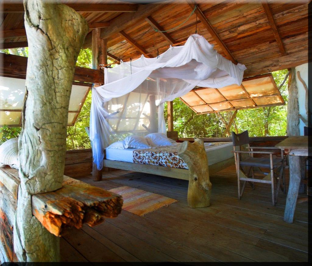 Bedroom Interior in Beach Hut at Haggerstone Island Australia