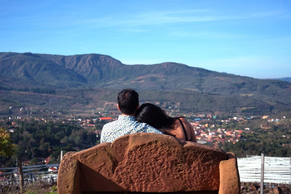 Bench with view over the Mountains at El Pueblito Boutique Hotel Bolivia