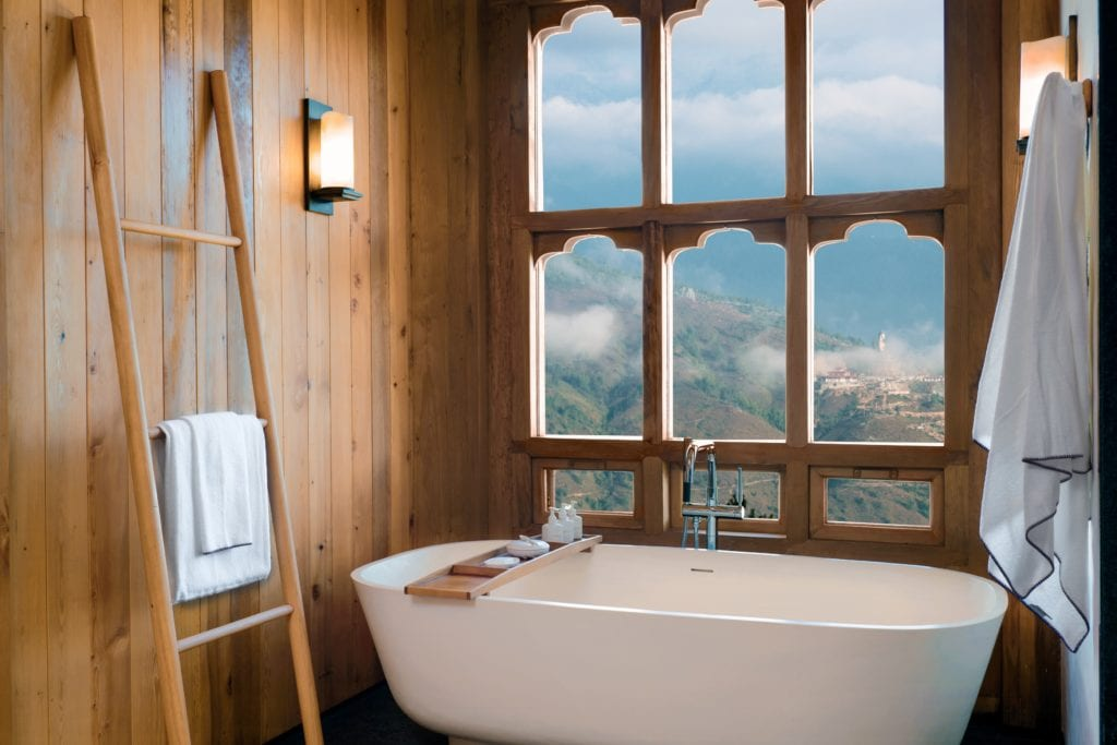 Bhutan Six Senses Thimphu Suite Bathroom Tub