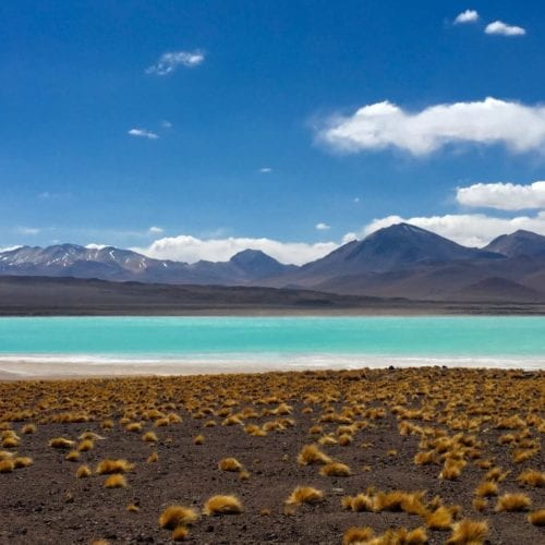Mountains and a lake in the deserts of Bolivia