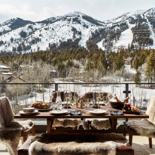 Caldera House Outdoor Dining with Mountain Views America