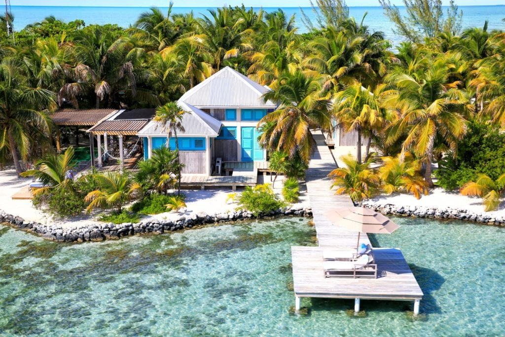 Casa Aurora Exterior View from Ocean at Cayo Espanto Belize