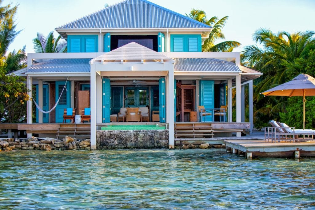 Casa Estrella Exterior View and Pool from Water Cayo Espanto Belize