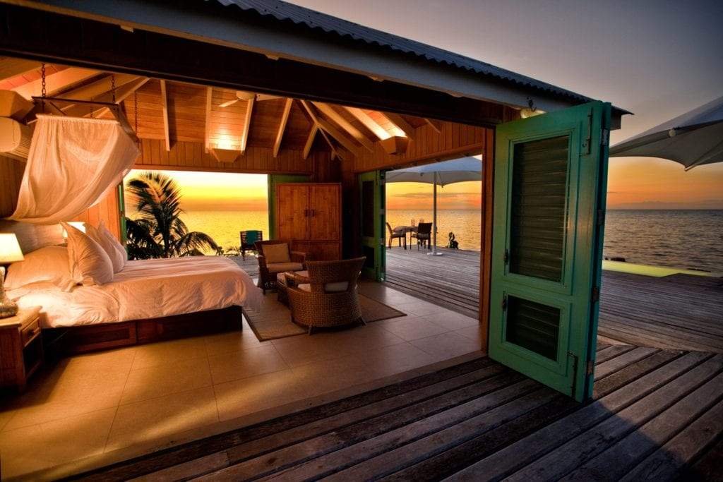 Casa Solana Interior Bedroom and Exterior Terrace at Sunset Cayo Espanto Belize