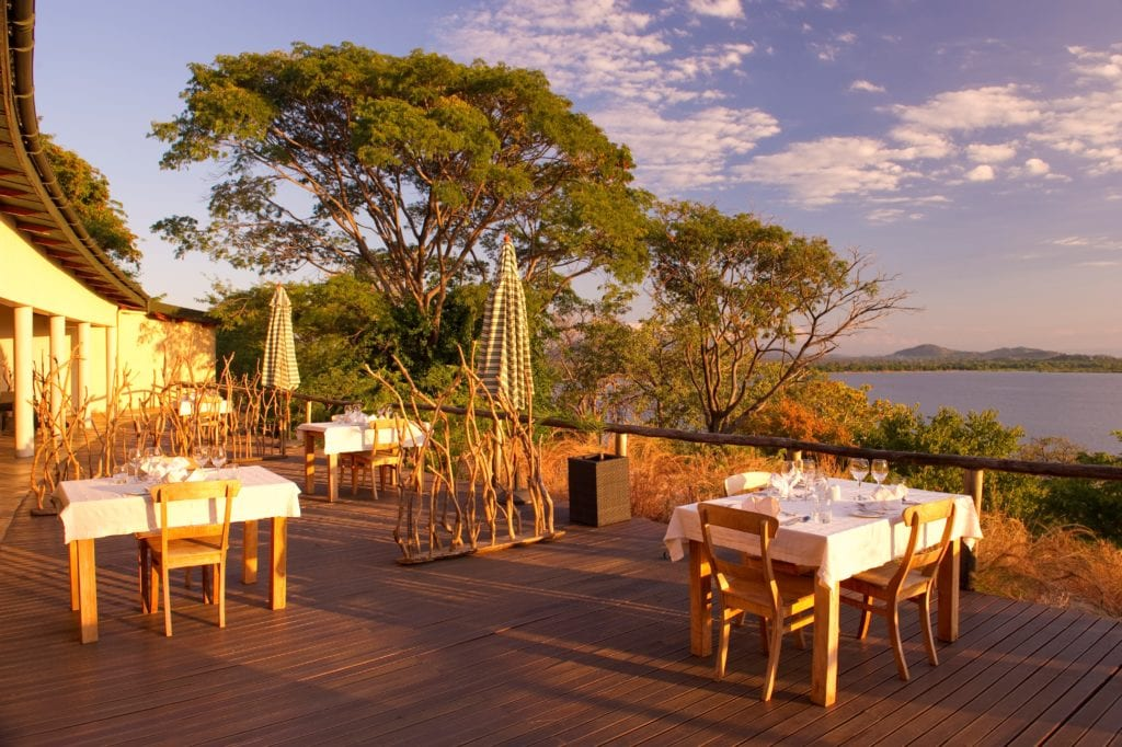 Dining Area at Pumulani with Views of Lake Malawi Africa