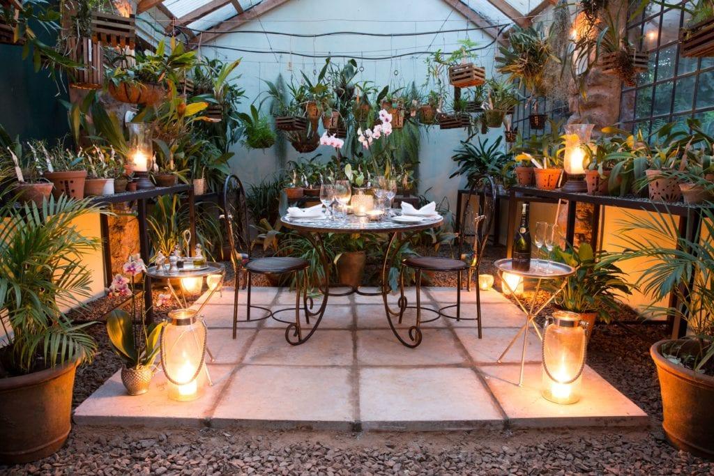 Dinner at Dusk in the Orchid House at Giraffe Manor, Kenya