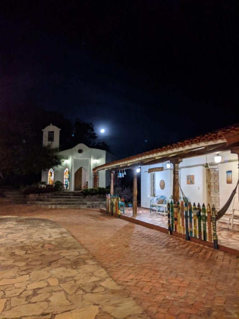 Exterior of El Pueblito Boutique Hotel at Night Bolivia