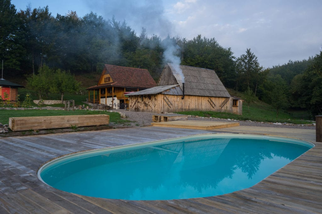 Exterior of Pool and Accommodation at Linden Tree Retreat and Ranch in Croatia