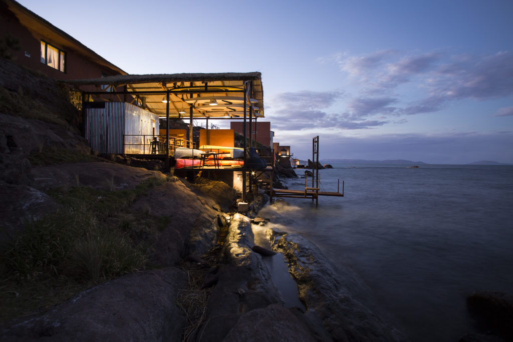 Exterior of Boathouse at Dusk Titilaka Peru