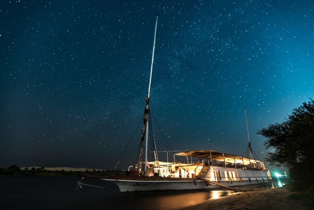 Exterior of Bour El Nil Boat at Night Under the Stars Egypt