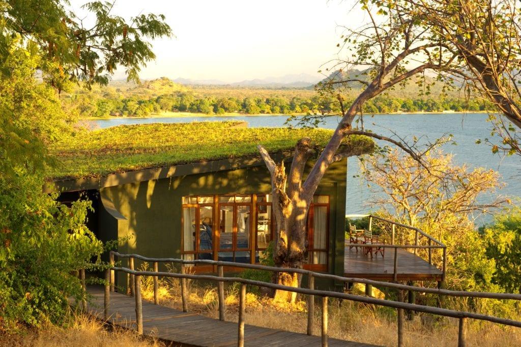 Exterior of Pumulani Lodge Rooms and Lake Malawi Africa