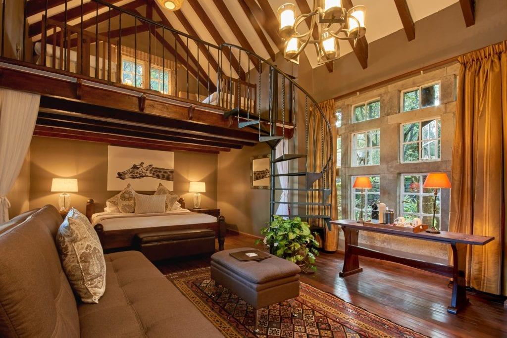 Finch Hattons Suite Interior with Mezzanine at Giraffe Manor Kenya