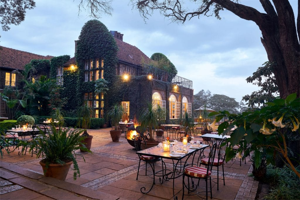 Dining Terrace at Dusk at Giraffe Manor, Kenya