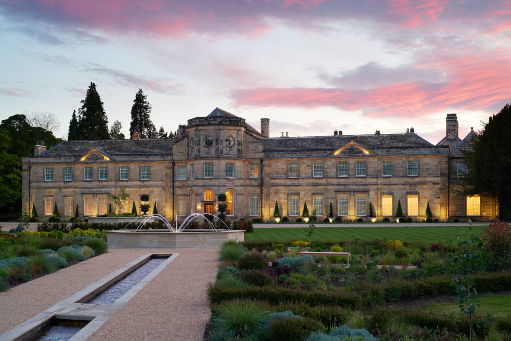 Grantley Hall Exterior at Sunset Twilight Yorkshire England