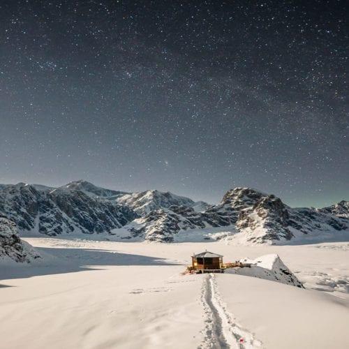 Hero Alaska Sheldon Chalet Exterior Night
